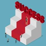 3d piano isometrico Prova differente della gente a successo Scale a successo Ostacolo metaforico Fotografie Stock