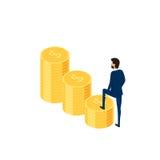 3d piano isometrico Uomo d'affari in vestito che cammina sulla scala dei soldi al successo Punto della scala a successo Fotografie Stock Libere da Diritti