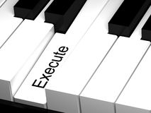 3D piano key with execute button. Internet, web concept Royalty Free Stock Photography
