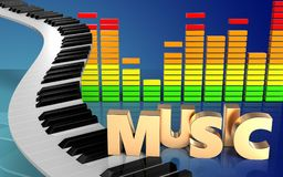 3d piano sluit audiospectrum royalty-vrije illustratie