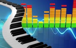 3d piano sluit audiospectrum stock illustratie