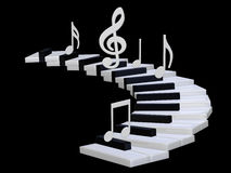 3d Piano stairway. 3d illustration isolated on the black Royalty Free Stock Photography