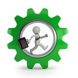 3d piccola gente - uomo d'affari nella ruota di ingranaggio Fotografie Stock Libere da Diritti