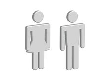 3D Pictogram Man Woman Sign icons, toilet sign or restroom icon Stock Images