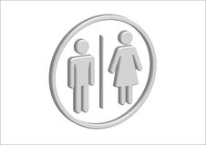 3D Pictogram Man Woman Sign icons, toilet sign or restroom icon Royalty Free Stock Photo