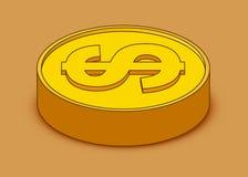3d pictogram van het beeldverhaal gouden muntstuk Amerikaanse dollar Het concept van het geld stock illustratie