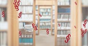 3D pictogrammen en de boekenrekken van het Sectiesymbool in bibliotheek Stock Foto's