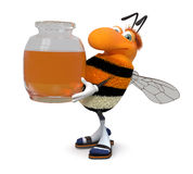 3d picture bumblebee. The striped insect tries to fly up to depart behind honey Royalty Free Stock Photography