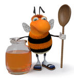 3d picture bumblebee. The striped insect tries to fly up to depart behind honey Stock Photo