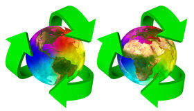 Eco symbol rainbow planet Earth - Europe Africa America  and Asia Royalty Free Stock Photos