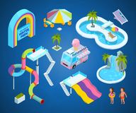 3D pictures of water park attractions. Vector isometric slide and amusement, illustration activity entertainment Royalty Free Stock Images