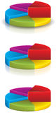 3D Pie Chart 1. 3D Pie Charts with a reflection and shadow - five pieces royalty free illustration