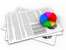 3d pie chart. 3d illustration of documents and pie chart over white background Stock Photography