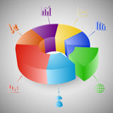 3D pie chart graph infographic Stock Photography