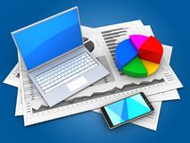 3d pie chart. 3d illustration of business charts and computer over blue background with pie chart Stock Image