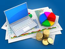 3d pie chart. 3d illustration of business documents and computer over blue background with pie chart Stock Images