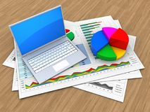 3d pie chart. 3d illustration of business documents and computer over wood background with pie chart Stock Photography