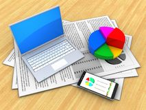 3d pie chart. 3d illustration of documents and computer over wood table background with pie chart Royalty Free Stock Photography