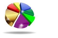 3d pie chart. Vector 3d pie chart on white background Royalty Free Stock Photos