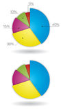 3D Pie Charts 2. 3D Pie Charts with and without call outs - five pieces royalty free stock image