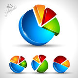 3d pie diagram for infographic or percentage data display. 4 different graph with high contrast colors Stock Images