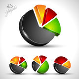 3d pie diagram for infographic or percentage data. Display. 4 different graph with high contrast colors Stock Image