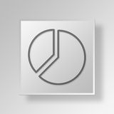 3D pie graph icon Business Concept. 3D Symbol Gray Square pie graph icon Business Concept Stock Image