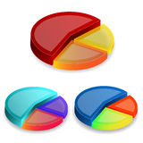 3d pie graphs  on white background Royalty Free Stock Photography
