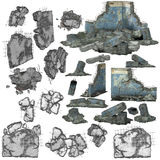 3D pieces of debris or rubble. 3d renderings of pieces of concrete debris or building rubble Royalty Free Stock Photo