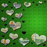 3-D pieniądze & czarni serca na zielonym błyskotliwości tle Zdjęcia Royalty Free
