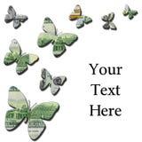 3-D pieniędzy motyle na białym tle Zdjęcia Royalty Free