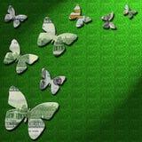 3-D pieniędzy motyle na zielonym błyskotliwości tle Zdjęcia Royalty Free
