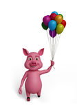 3d  Pig with ballons. Illustration of 3d  Pig with ballons Royalty Free Stock Photography