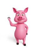 3d Pig with hi pose. Illustration of 3d Pig with hi pose Royalty Free Stock Photo