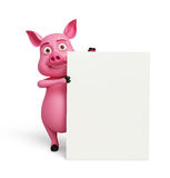 3D Pig with white board. Illustration of 3d Pig with white board Stock Images