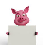 3d Pig with white board. Illustration of 3d Pig with white board Stock Photography