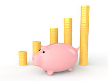 3d piggy bank with coin stacks Stock Images
