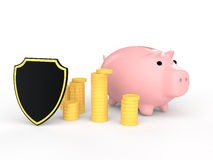 3d piggy bank with coins and shield Stock Photos