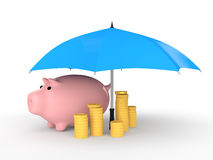 3d piggy bank with coins under umbrella Royalty Free Stock Photos