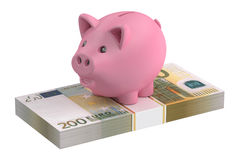 3D Piggy bank and 200 euro pack Royalty Free Stock Photography