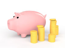 3d piggy bank with golden coins Royalty Free Stock Images
