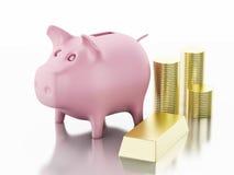 3d piggy bank with golden coins Stock Photos