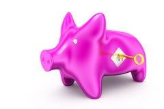 3d piggy bank lock concept Stock Photography