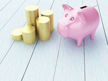 3d Piggy bank with money. 3d renderer image. Piggy bank with money. Business and financial concept Stock Photos