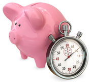 3d piggy bank with stopwatch, save time concept Royalty Free Stock Photos