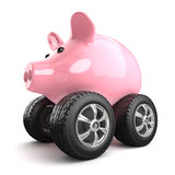 3d Piggy bank on wheels Royalty Free Stock Photo