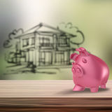 3d Piggy bank on wooden shelf with home blur royalty free stock photos