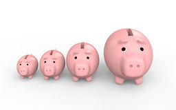 3d piggy banks increasing size Stock Photography