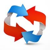 3D Pijl Blauwe en Rode Pijlen Royalty-vrije Stock Foto's
