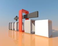 3D pijl duwt aan de juiste weg en in juiste occasio Royalty-vrije Stock Fotografie